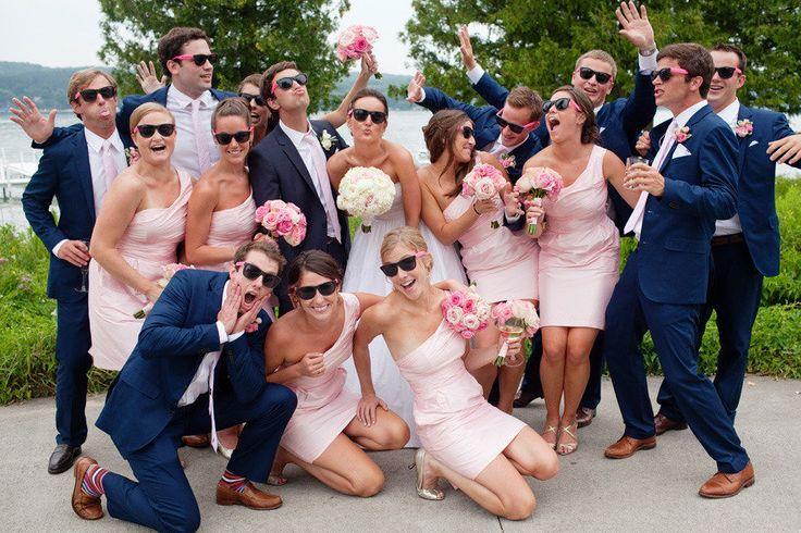 preppy bridal party wearing fun sunglasses