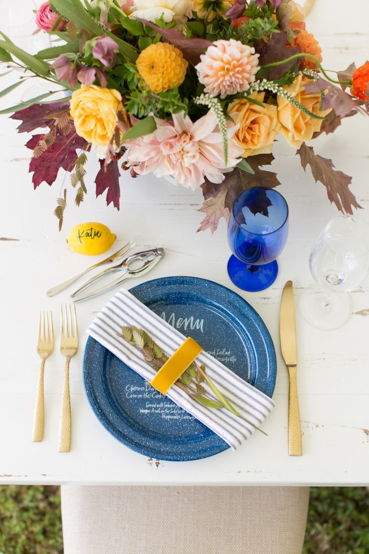 modern Fall inspired wedding place setting