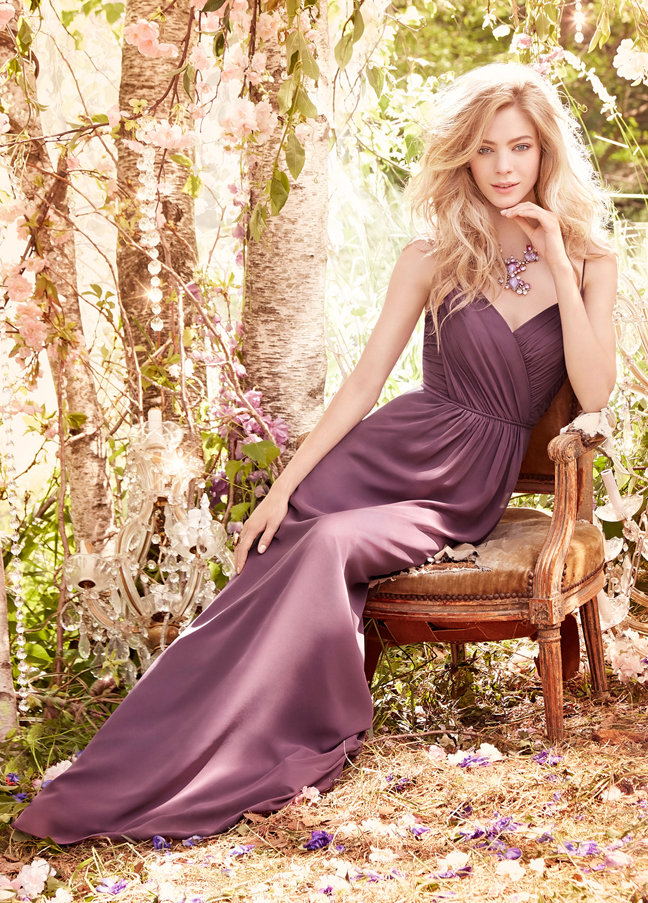 JH5553. Long modern purple bridesmaid dress. Frosted Violet chiffon A-line bridesmaid gown, draped V-neckline, natural waist with gathered skirt. http://itgirlweddings.com/occasions-fall-2015-collection/