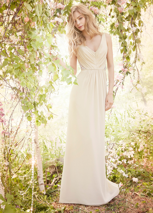 JH5560. Palm yellow bridesmaid dress. Crystal embellished bridesmaid dress. Cashmere chiffon A-line bridesmaid gown, draped V-neckline, gathered natural waist with silver metallic lace insert. http://itgirlweddings.com/occasions-fall-2015-collection/