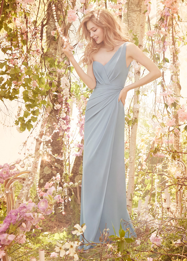 JH5565. Dusty blue long bridesmaid dress. Silver chiffon A-line bridesmaid gown, one shoulder neckline, natural waist with asymmetrical draped skirt. http://itgirlweddings.com/occasions-fall-2015-collection/