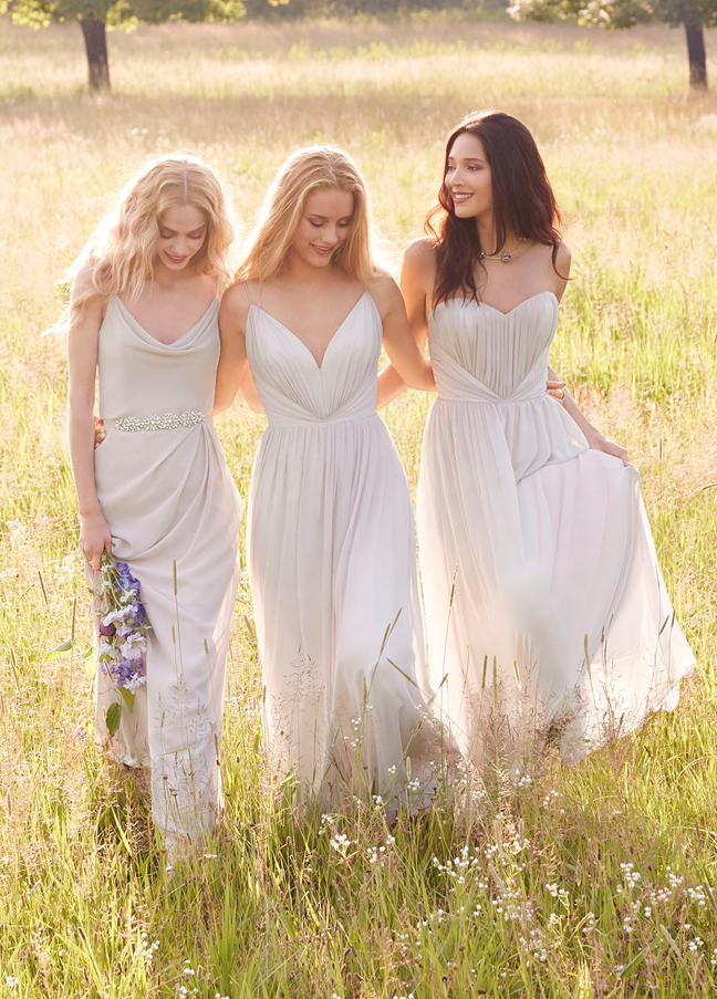 JH5561. Modern long bridesmaid dresses. Candlelight chiffon over Ivory lining strapless A-line bridesmaid gown, sweetheart draped neckline, natural waist with gathered skirt. http://itgirlweddings.com/occasions-fall-2015-collection/