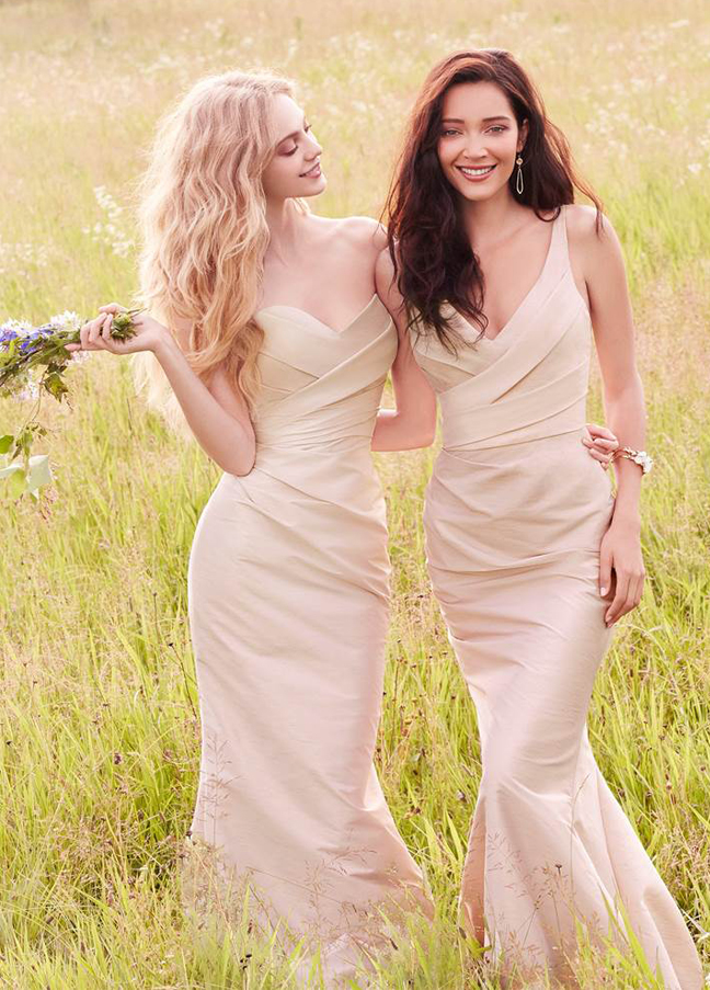 JH5559. Champagne bridesmaid dresses. Champagne dupioni strapless sweetheart A-line bridesmaid gown, asymmetrical draped bodice and skirt, natural waist. http://itgirlweddings.com/occasions-fall-2015-collection/