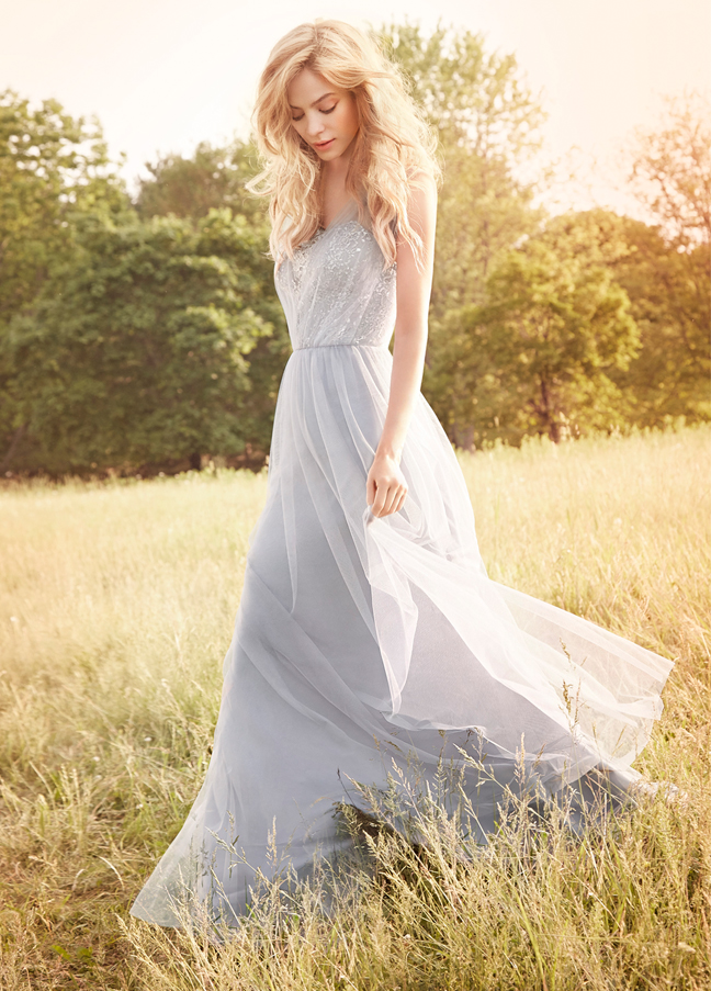 JH5557, Dusty blue crystal bodice bridesmaids dress. Pewter English net A-line bridesmaid gown, Silver metallic lace bodice with draped strap detail, natural waist with gathered skirt. http://itgirlweddings.com/occasions-fall-2015-collection/
