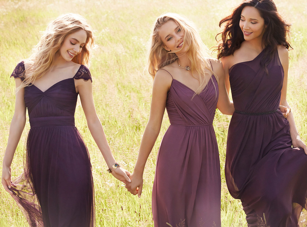 JH5555. Purple mix-matched bridesmaids dresses. Plum English net A-line bridesmaid gown, sweetheart neckline, gathered bodice and band at natural waist, Plum lace cap sleeve with key hole back. http://itgirlweddings.com/occasions-fall-2015-collection/