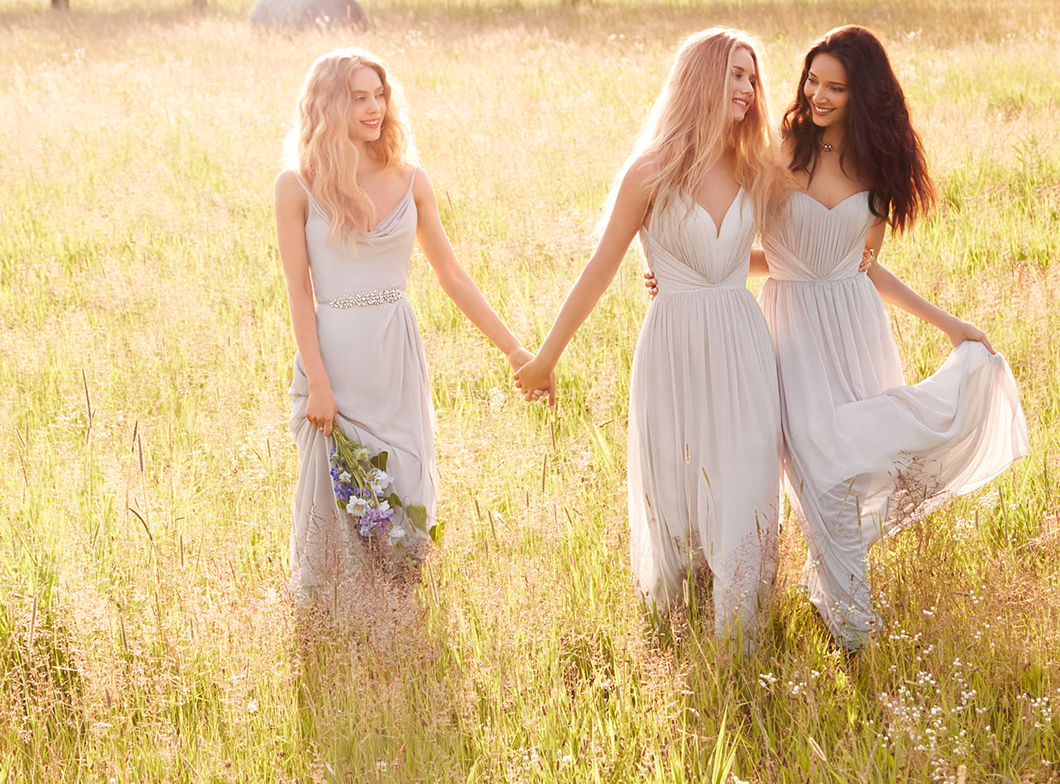 JH5552. Modern bridesmaid dresses. Chiffon A-line bridesmaid gown, cowl drape neckline, natural waist with drape skirt. http://itgirlweddings.com/occasions-fall-2015-collection/