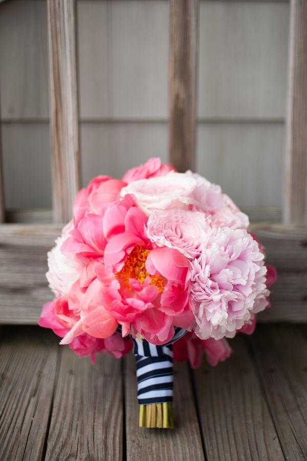 pink wedding bouquet with striped ribbon