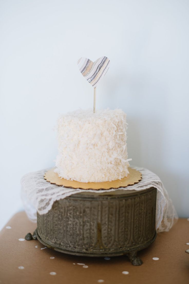 coconut cake with heart on the top
