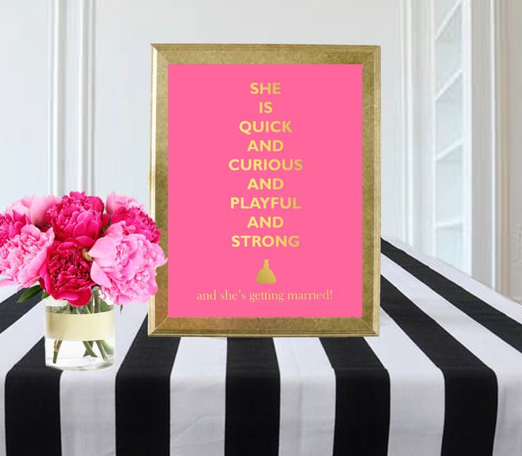 pink and gold wedding sign