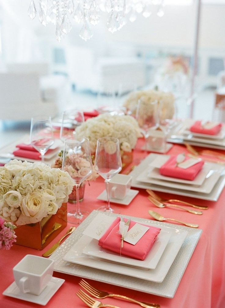 coral and white bridal shower table