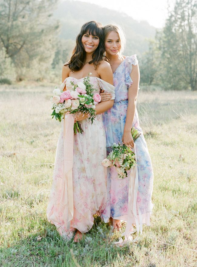 floral mix-matched bridesmaids dresses