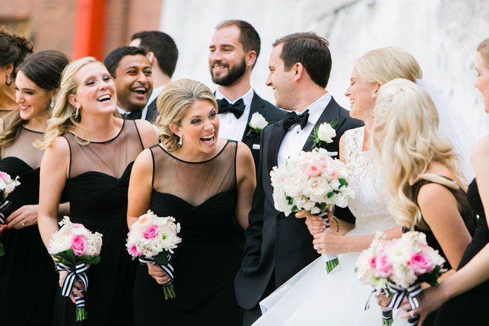bridal party laughing, formal wedding