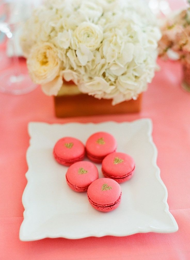 coral and gold macaroons