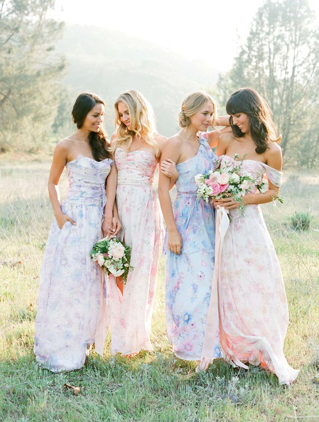 mix-matched long bridesmaids dresses