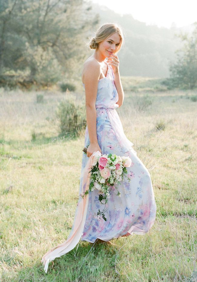 one shoulder floral bridesmaids dress