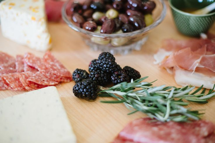 berry, cheese, meat and olive board
