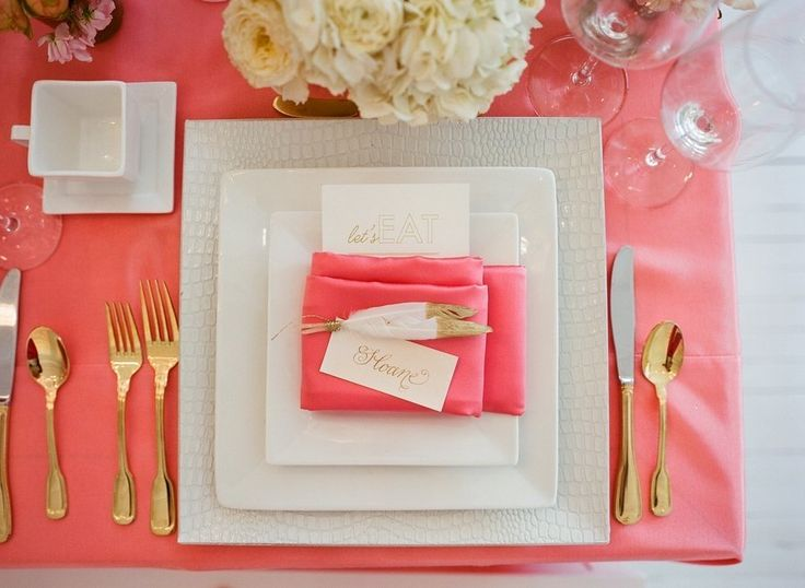 coral bridal shower table
