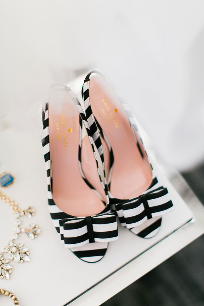 black and white stripped bow kate spade shoes