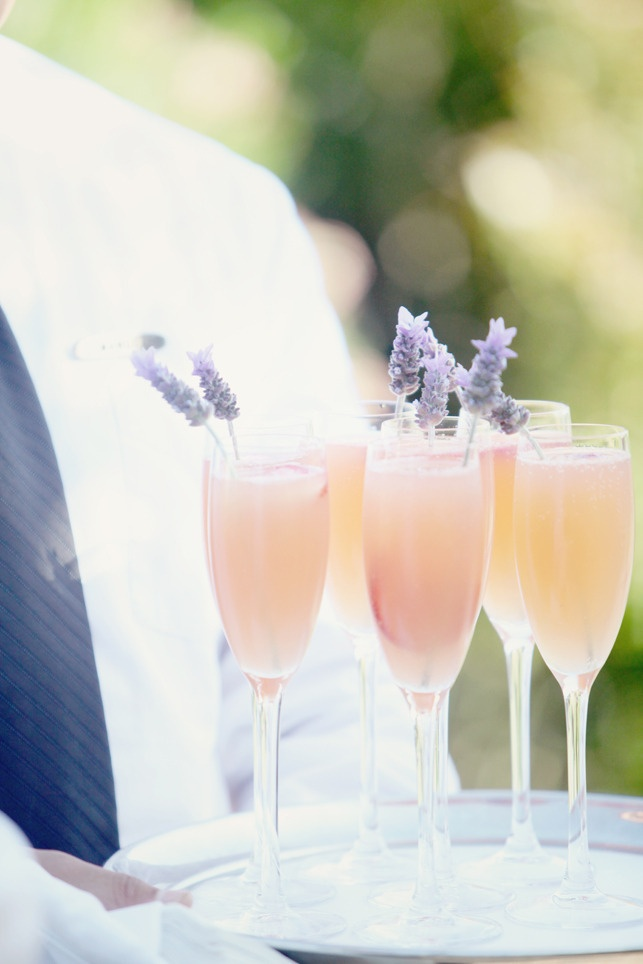 champagne cocktail with lavender