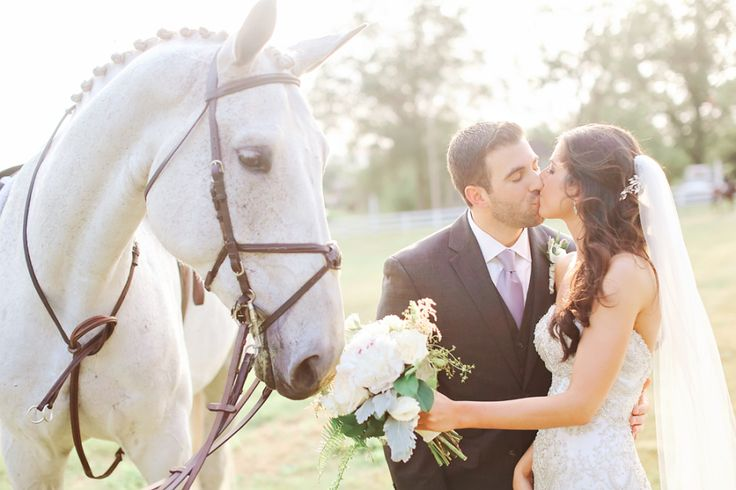 bride and groom kissing next to white horse