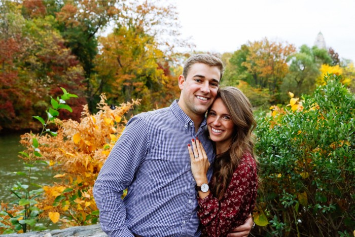 adorable newly engaged couple in central park