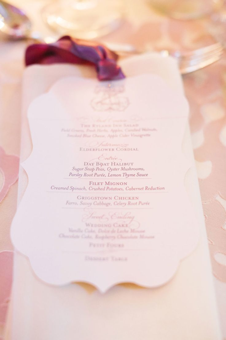 purple wedding menu's