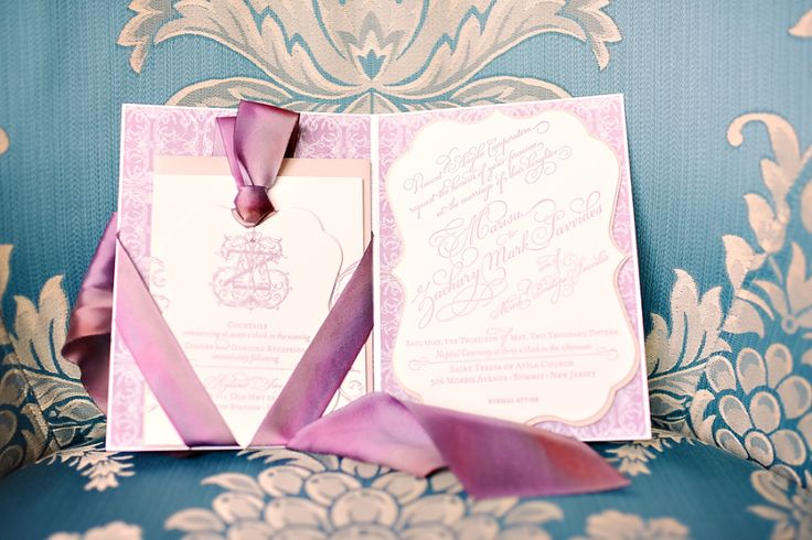 purple traditional wedding invitations
