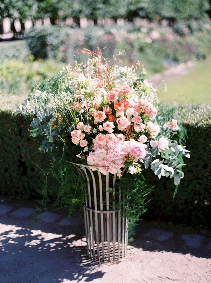 large pink wedding flower display