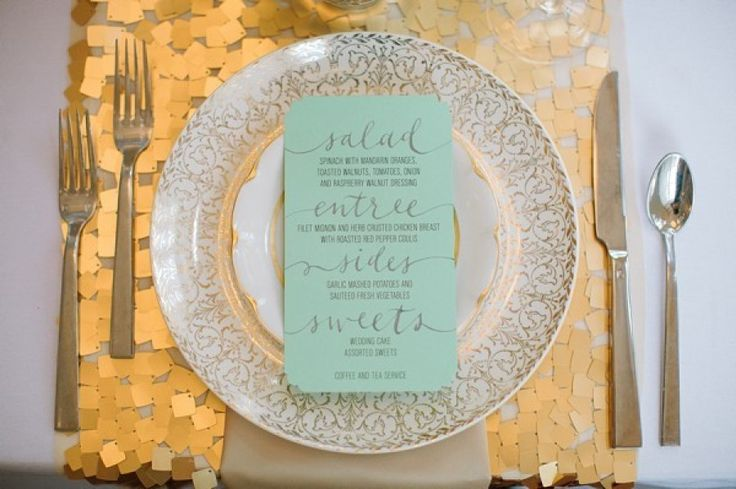 gold and mint winter wedding table