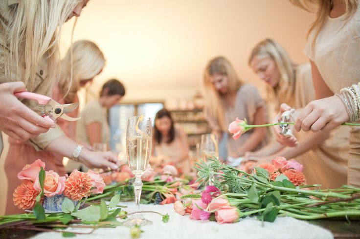 flower arranging bridal shower activity