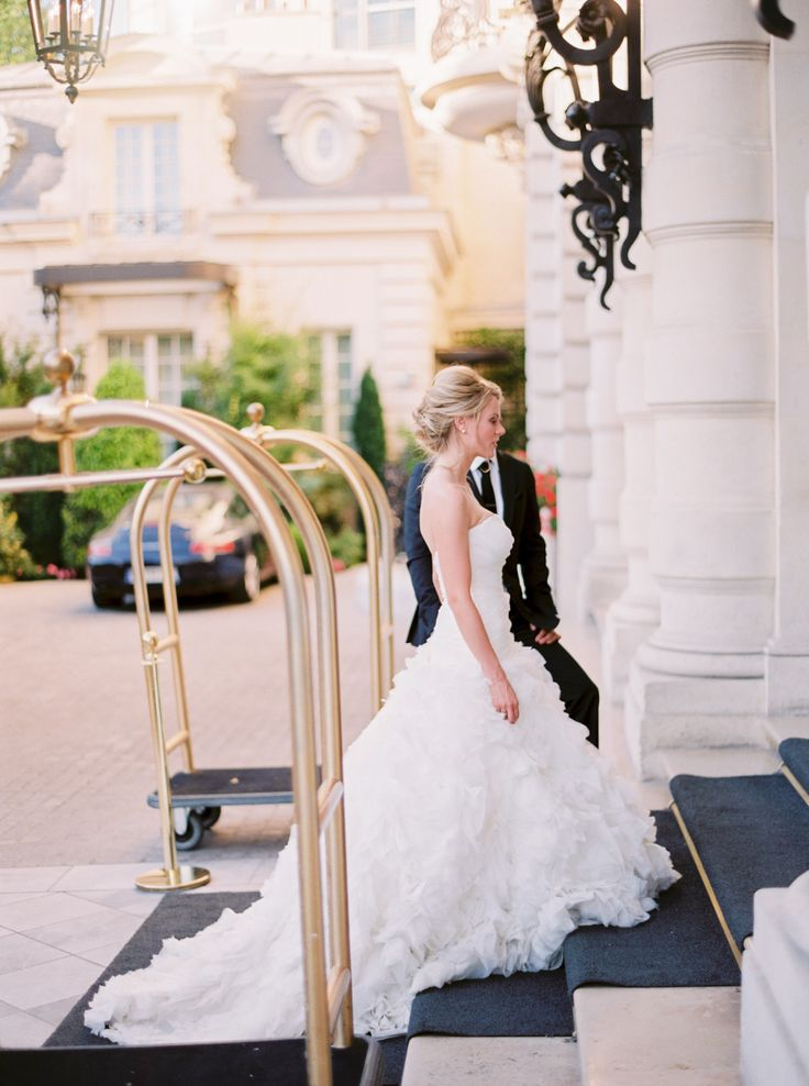 bride walking into Paris wedding chapel