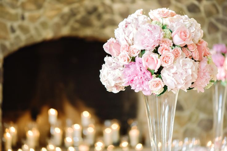 pink tall reception flowers