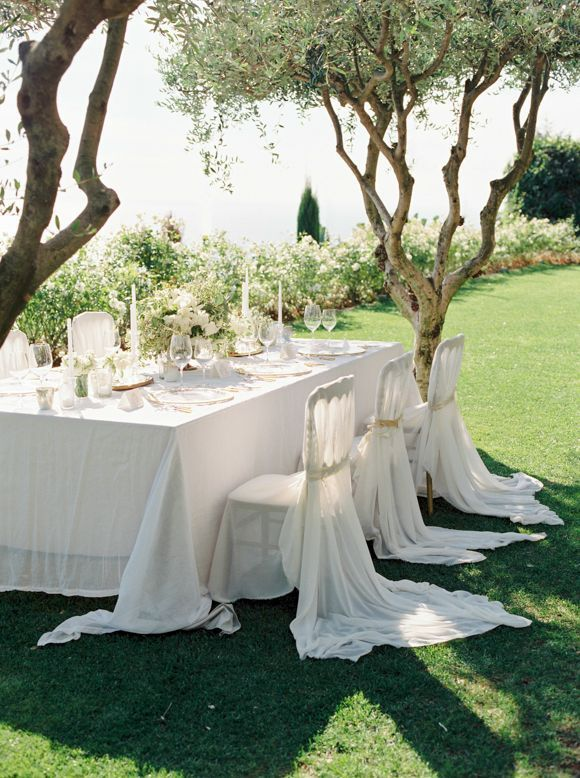 white tablescape on a cliff