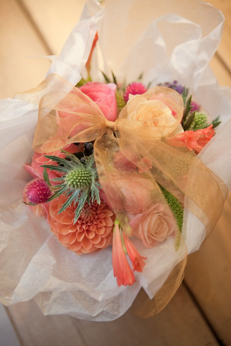 flower bouquet wrapped with ribbon