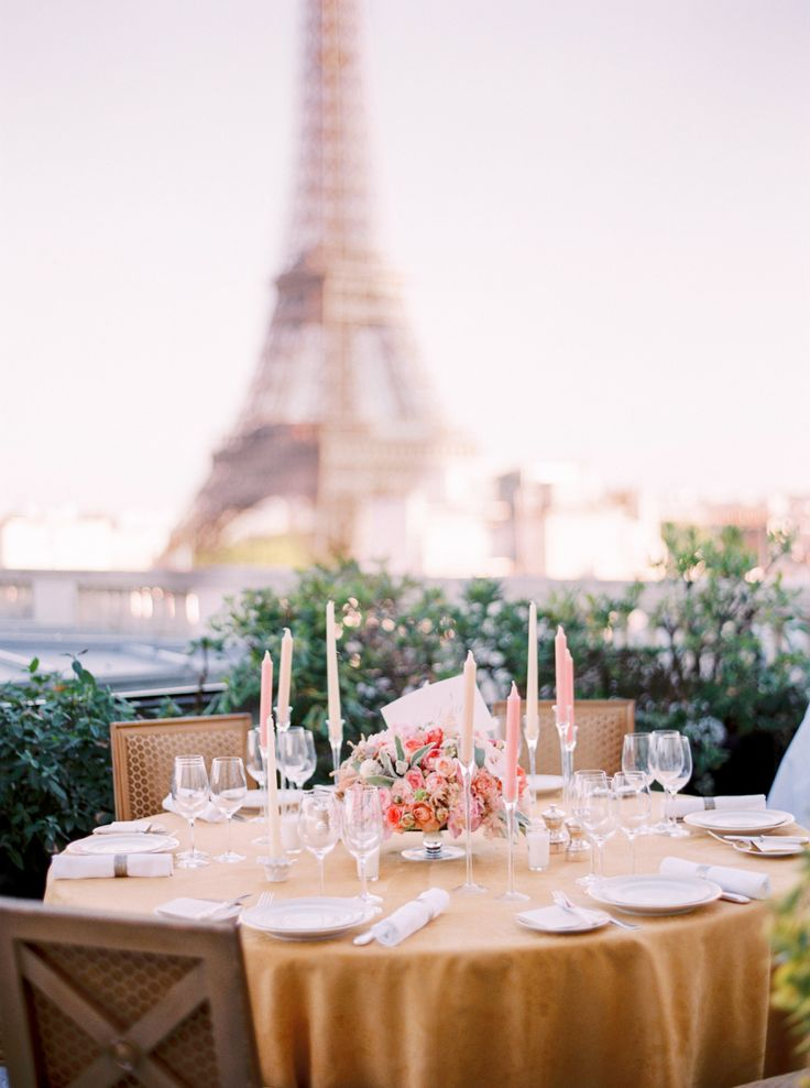 wedding reception table in front of Eiffel tower