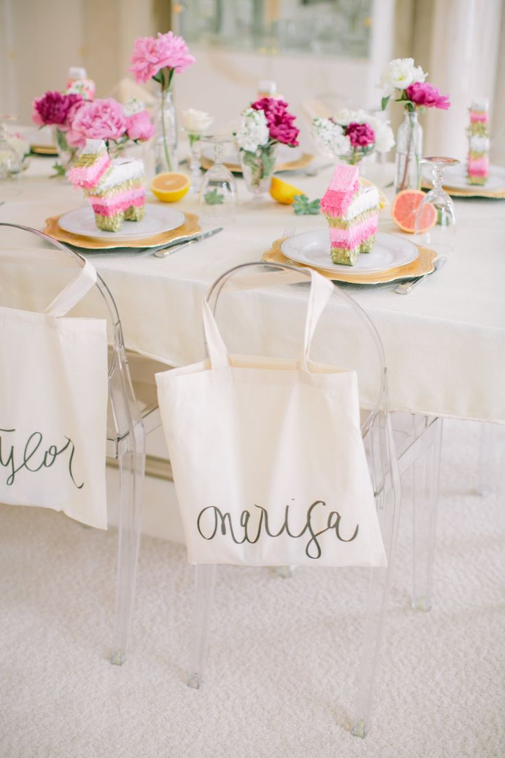 """Will you be my bridesmaid party?"", bridal party tablescape"