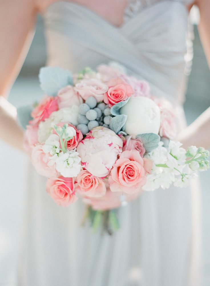 serenity and rose quartz wedding colors, gorgeous wedding bouquet