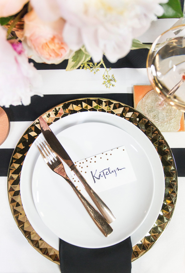 modern bachelorette party place settings