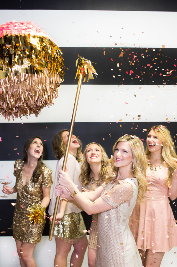 New Year's Eve bachelorette party with a confetti disco ball pinata