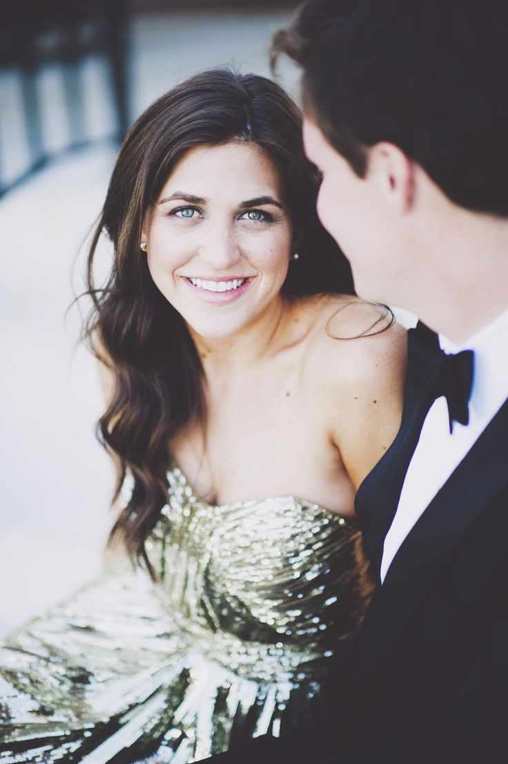 gold sequin dress for engagement pictures