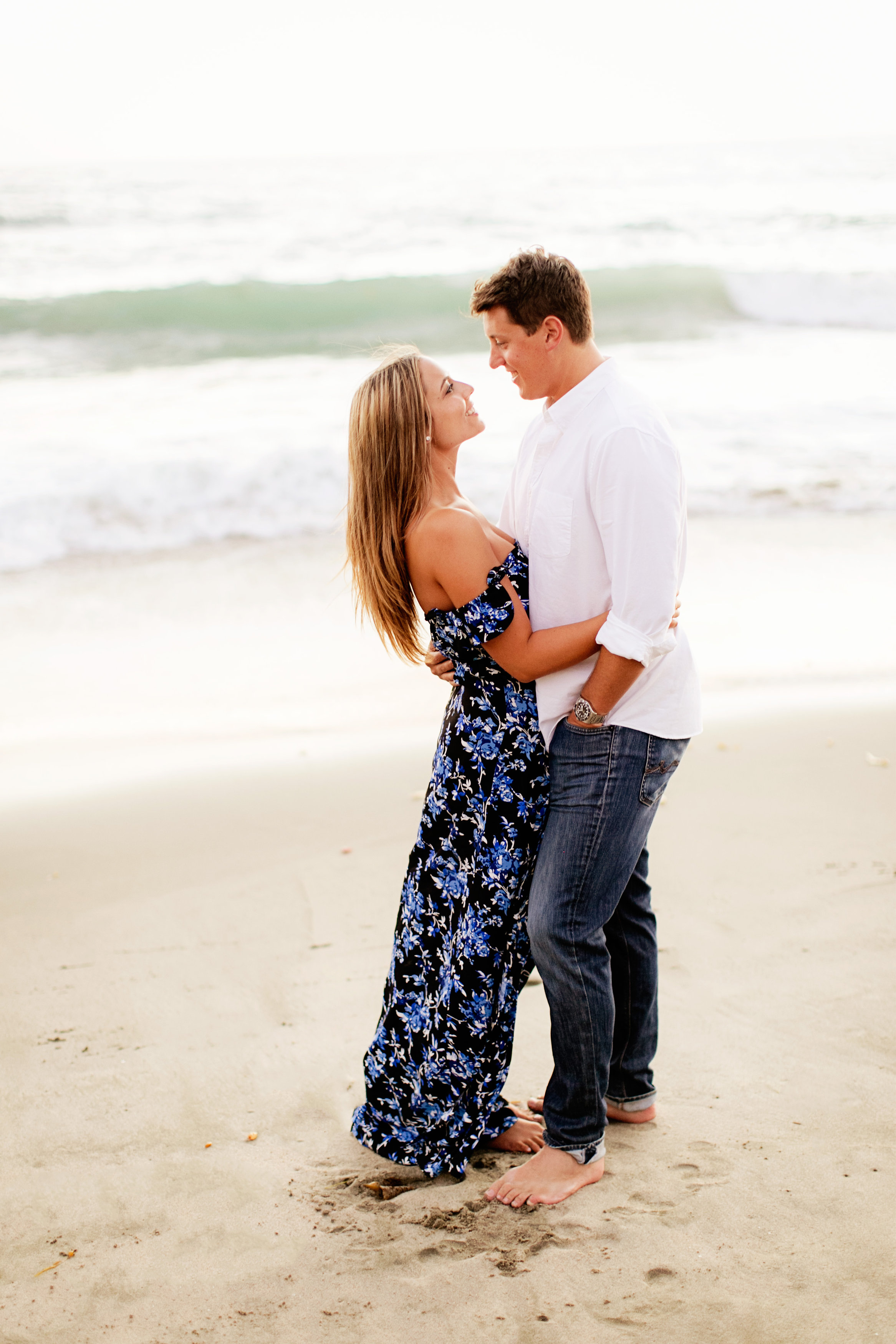 In Blue Fl Maxi Dress For Engagement Pictures