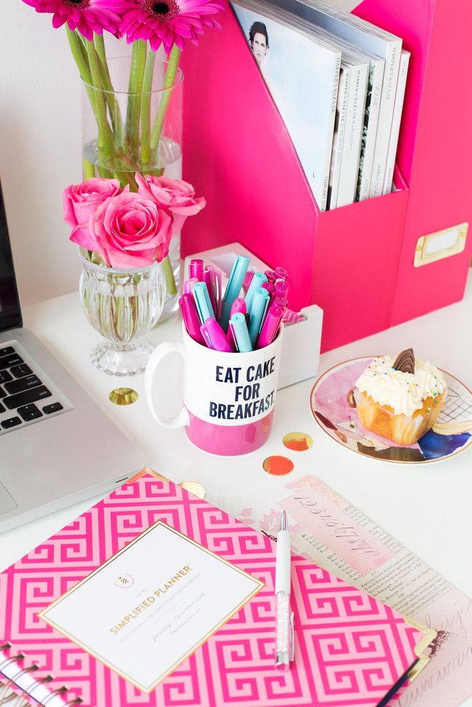 bride planning wedding with cute desk accessories, eat cake for breakfast mug, pink wedding planning book