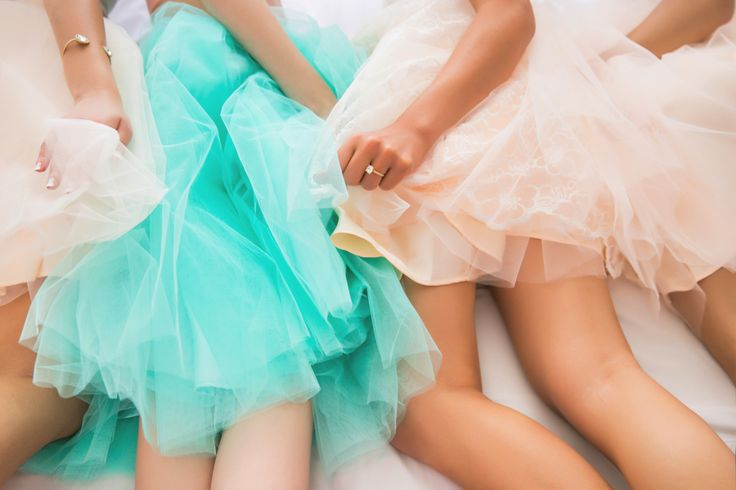 bridesmaids in tulle skirts