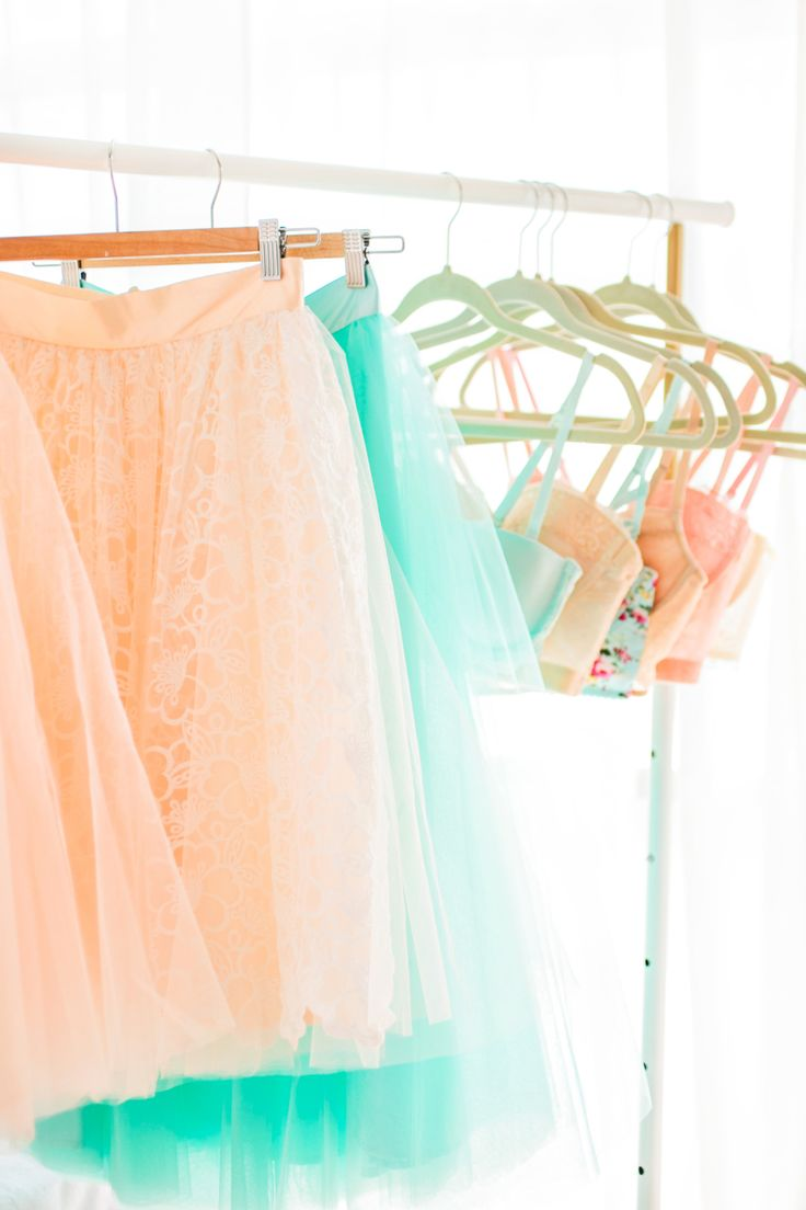 hanging bras and skirts