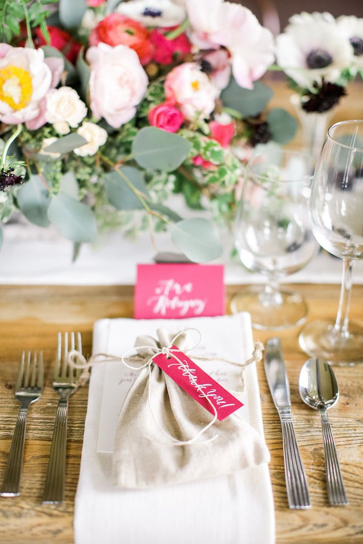wedding favor bags at place settings