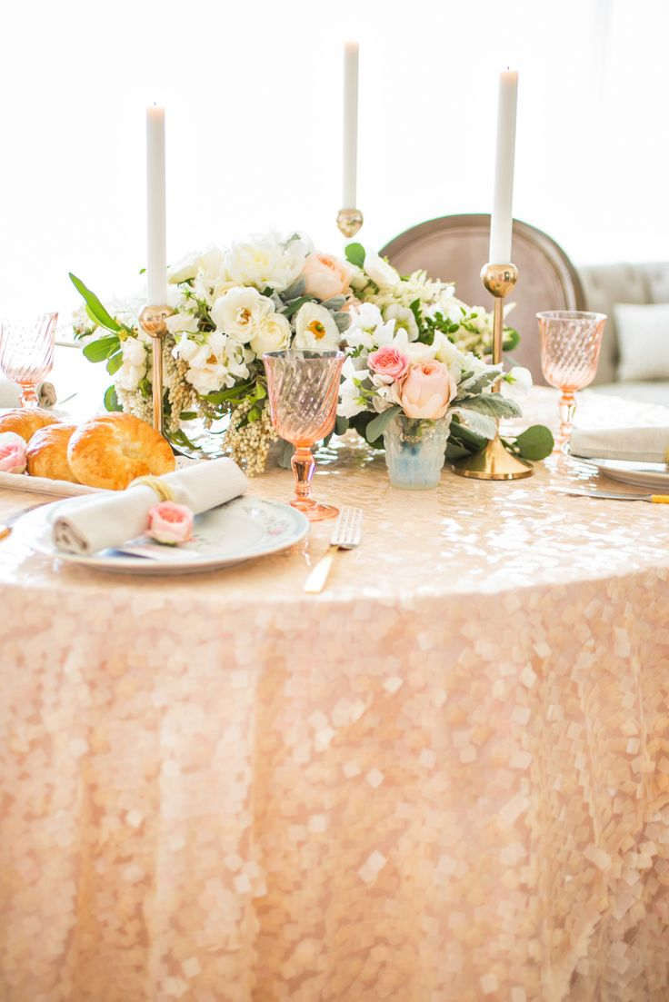 gold sequin bridal shower linens for brunch