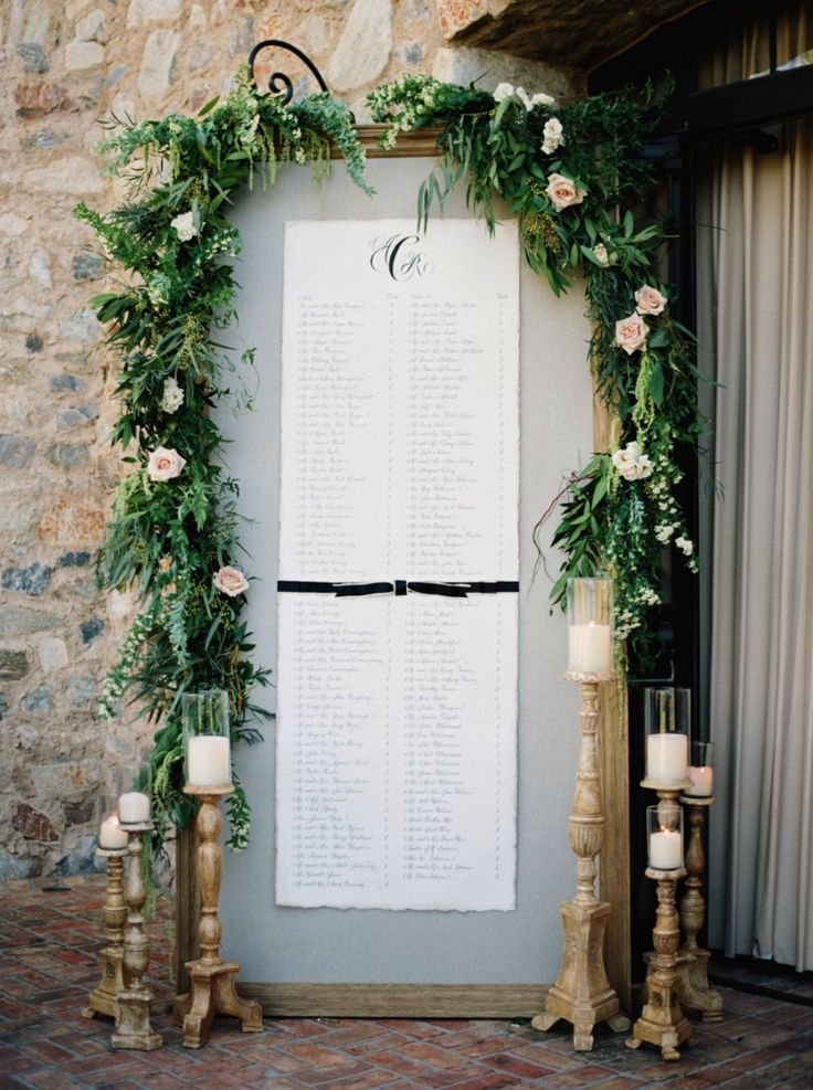 large wedding placement cards sign covered with greenery and roses