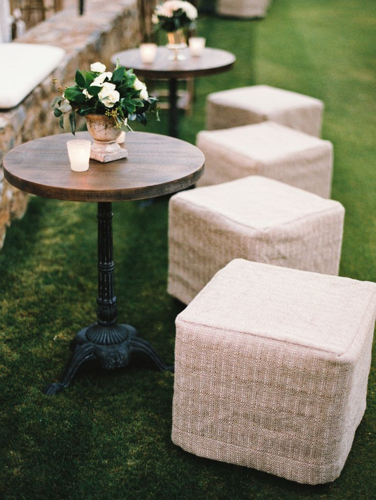 wedding cocktail hour furniture rentals stools