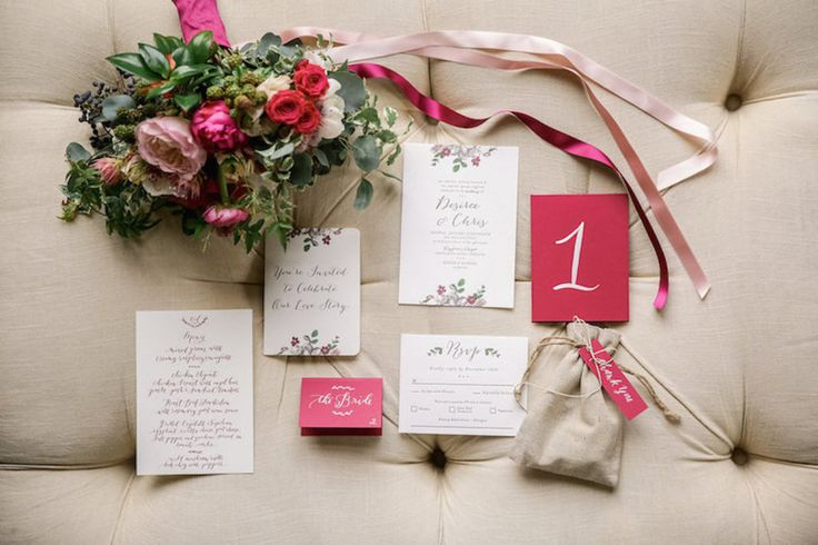 pink and floral wedding invitation suite