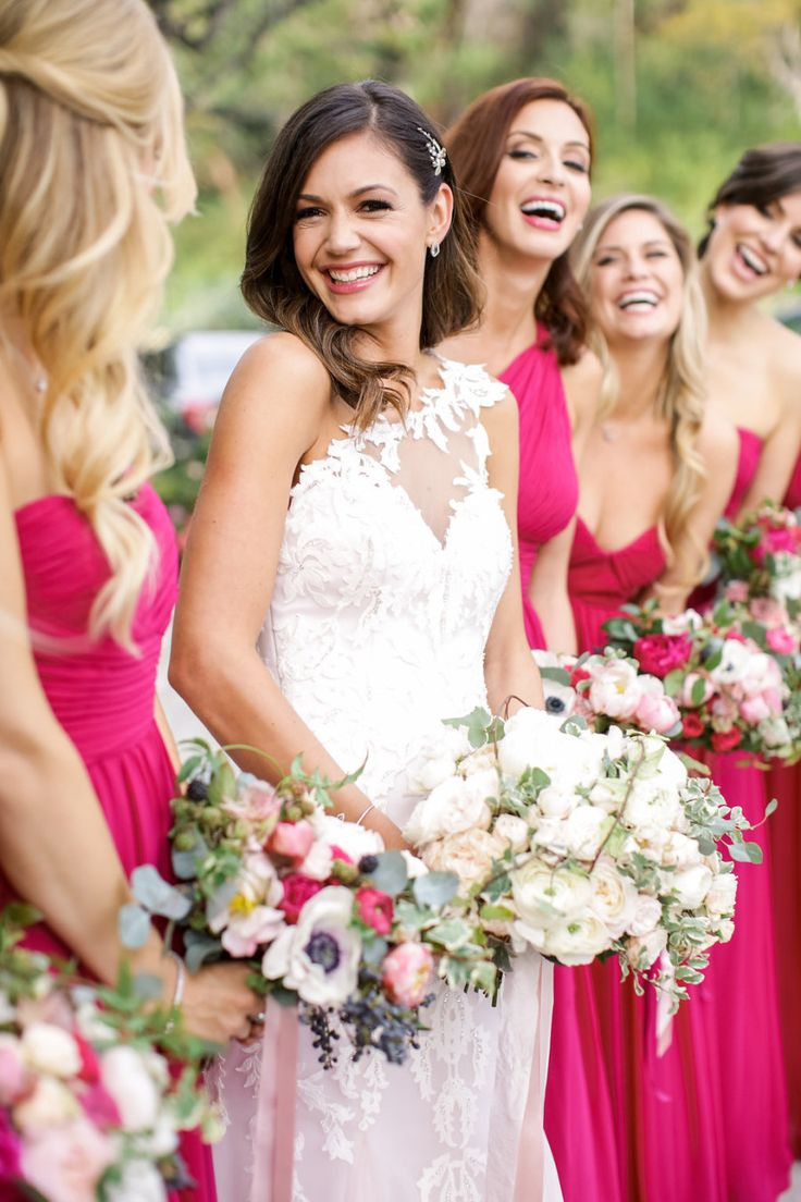 DESIREE HARTSTOCK'S with bridesmaids in pink long dresses
